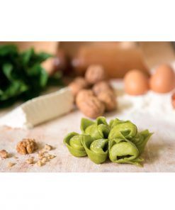 Green Italian Tortelloni stuffed with fresh ricotta Grana Padano walnuts